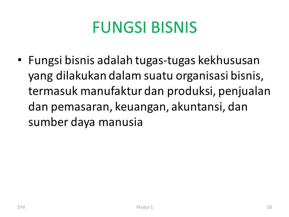 FUNGSI BISNIS Fungsi bisnis adalah tugas-tugas kekhususan yang dilakukan dalam suatu organisasi bisnis, termasuk manufaktur dan produksi, penjualan dan pemasaran, keuangan, akuntansi, dan sumber daya manusia SIM16Modul-1