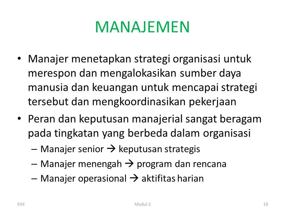 MANAJEMEN Manajer menetapkan strategi organisasi untuk merespon dan mengalokasikan sumber daya manusia dan keuangan untuk mencapai strategi tersebut dan mengkoordinasikan pekerjaan Peran dan keputusan manajerial sangat beragam pada tingkatan yang berbeda dalam organisasi – Manajer senior  keputusan strategis – Manajer menengah  program dan rencana – Manajer operasional  aktifitas harian SIM19Modul-1