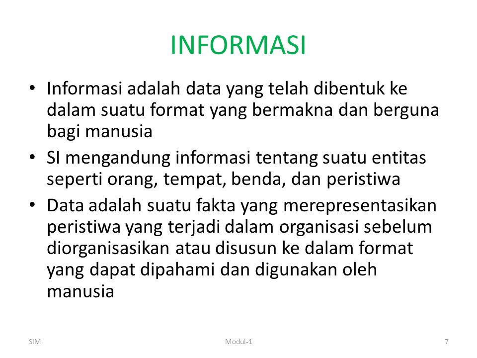 INFORMASI Informasi adalah data yang telah dibentuk ke dalam suatu format yang bermakna dan berguna bagi manusia SI mengandung informasi tentang suatu entitas seperti orang, tempat, benda, dan peristiwa Data adalah suatu fakta yang merepresentasikan peristiwa yang terjadi dalam organisasi sebelum diorganisasikan atau disusun ke dalam format yang dapat dipahami dan digunakan oleh manusia SIM7Modul-1