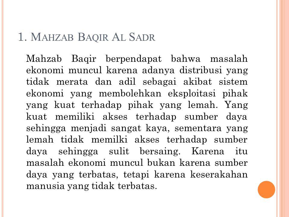 1. M AHZAB B AQIR A L S ADR Mahzab Baqir berpendapat bahwa masalah ekonomi muncul karena adanya distribusi yang tidak merata dan adil sebagai akibat s