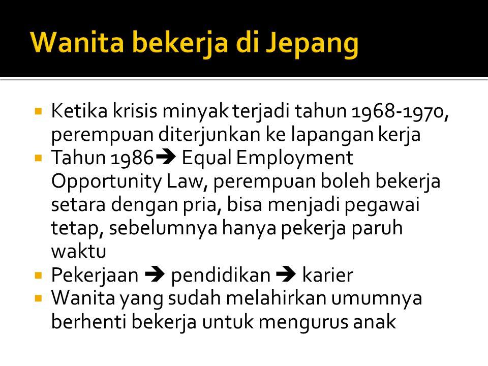  Ketika krisis minyak terjadi tahun 1968-1970, perempuan diterjunkan ke lapangan kerja  Tahun 1986  Equal Employment Opportunity Law, perempuan bol