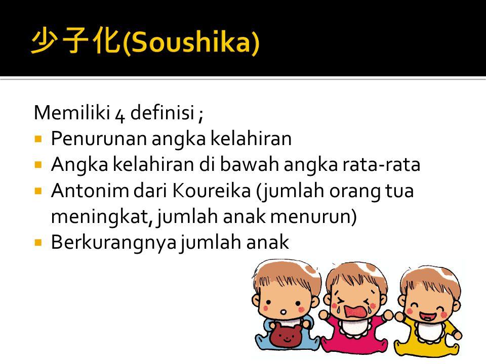  少子化( shoushika) adalah fenomena rendahnya angka kelahiran dalam suatu masyarakat.