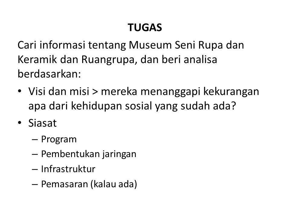 TUGAS Cari informasi tentang Museum Seni Rupa dan Keramik dan Ruangrupa, dan beri analisa berdasarkan: Visi dan misi > mereka menanggapi kekurangan apa dari kehidupan sosial yang sudah ada.