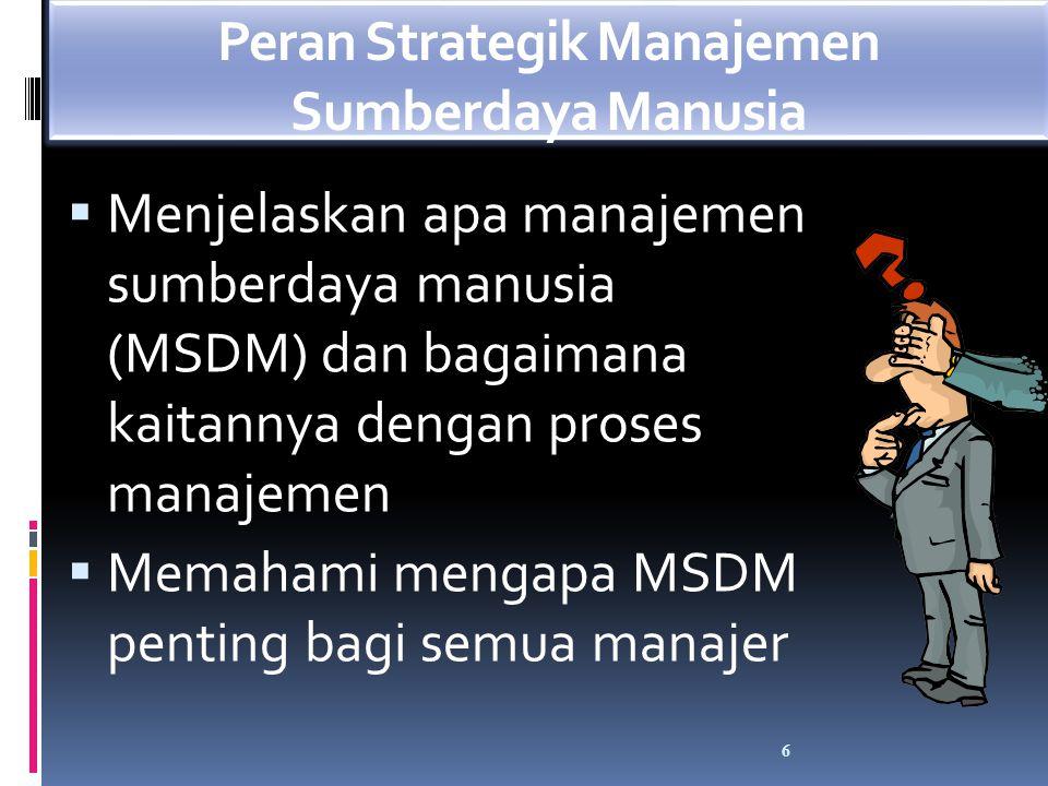 Proses manajemen SDM berusaha mengisi staf organisasi dan mempertahankan kinerja karyawan yang tinggi melalui perencanaan SDM, perekrutan dan pengurangan, seleksi, orientasi, pelatihan, manajemen kinerja, kompensasi dan tunjangan, serta pengembangan karir 7 Proses Manajemen SDM