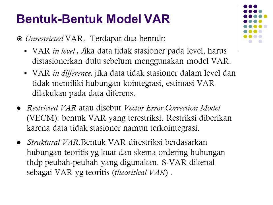 Bentuk-Bentuk Model VAR  Unrestricted VAR. Terdapat dua bentuk:  VAR in level. J ika data tidak stasioner pada level, harus distasionerkan dulu sebe