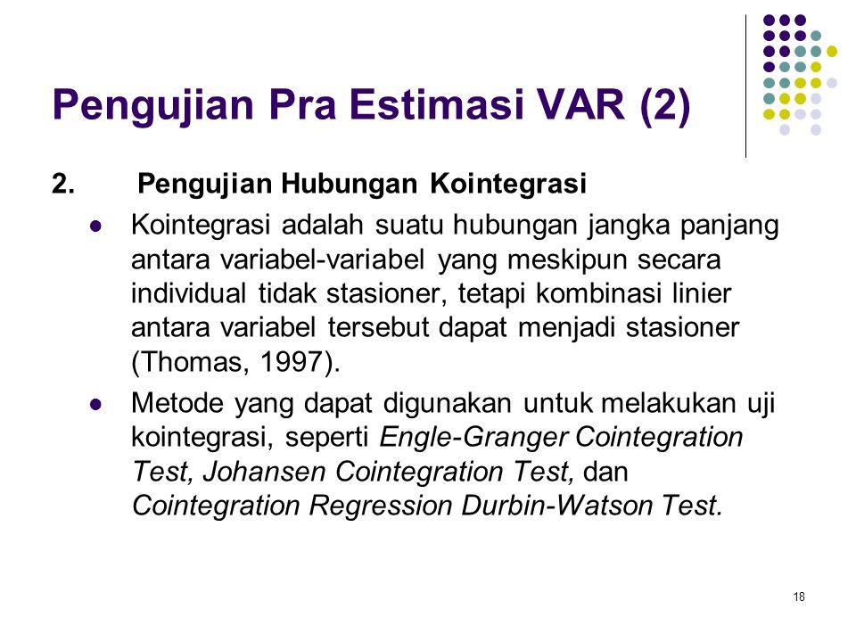 Pengujian Pra Estimasi VAR (2) 2.Pengujian Hubungan Kointegrasi Kointegrasi adalah suatu hubungan jangka panjang antara variabel-variabel yang meskipu