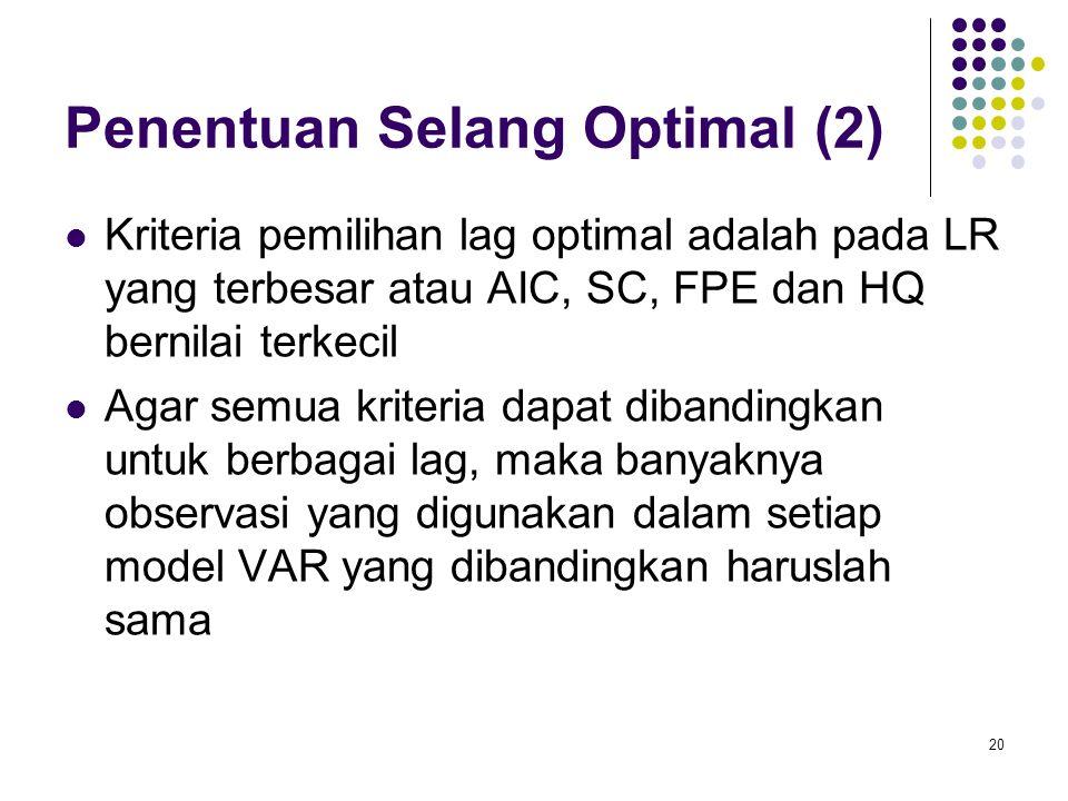 Penentuan Selang Optimal (2) Kriteria pemilihan lag optimal adalah pada LR yang terbesar atau AIC, SC, FPE dan HQ bernilai terkecil Agar semua kriteri