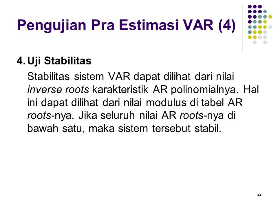 Pengujian Pra Estimasi VAR (4) 4.Uji Stabilitas Stabilitas sistem VAR dapat dilihat dari nilai inverse roots karakteristik AR polinomialnya. Hal ini d