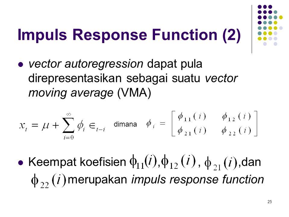 Impuls Response Function (2) vector autoregression dapat pula direpresentasikan sebagai suatu vector moving average (VMA) Keempat koefisien,,,dan meru