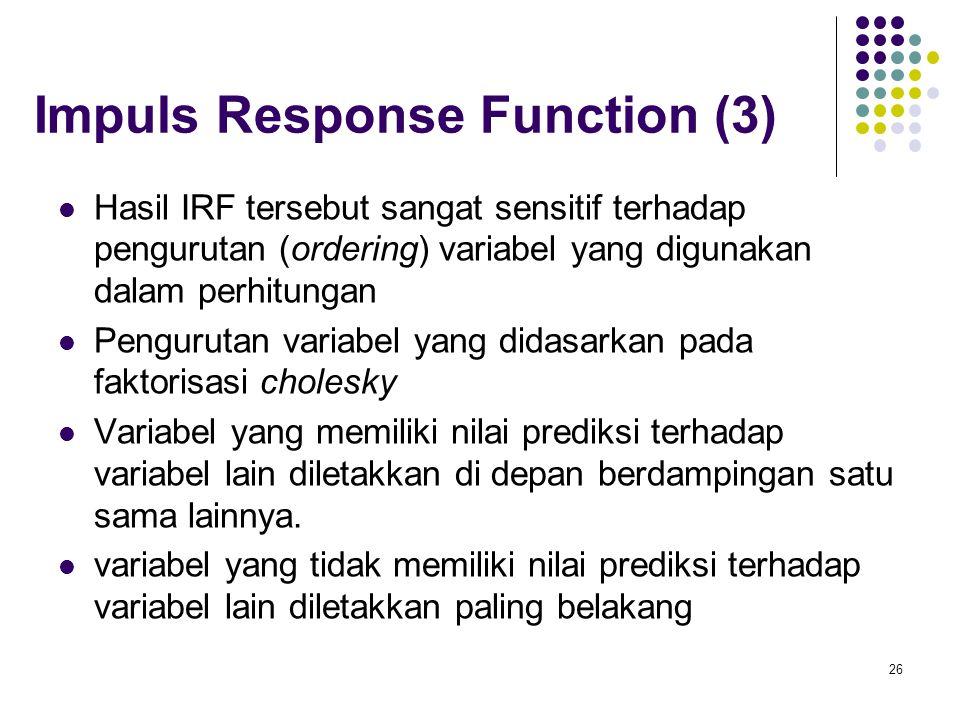 Hasil IRF tersebut sangat sensitif terhadap pengurutan (ordering) variabel yang digunakan dalam perhitungan Pengurutan variabel yang didasarkan pada f