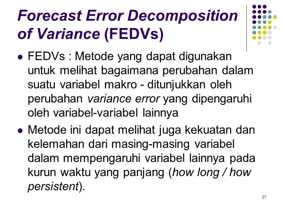 Forecast Error Decomposition of Variance (FEDVs) FEDVs : Metode yang dapat digunakan untuk melihat bagaimana perubahan dalam suatu variabel makro - di
