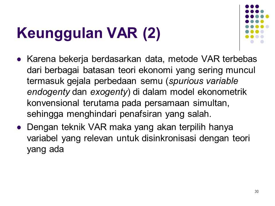 Keunggulan VAR (2) Karena bekerja berdasarkan data, metode VAR terbebas dari berbagai batasan teori ekonomi yang sering muncul termasuk gejala perbeda