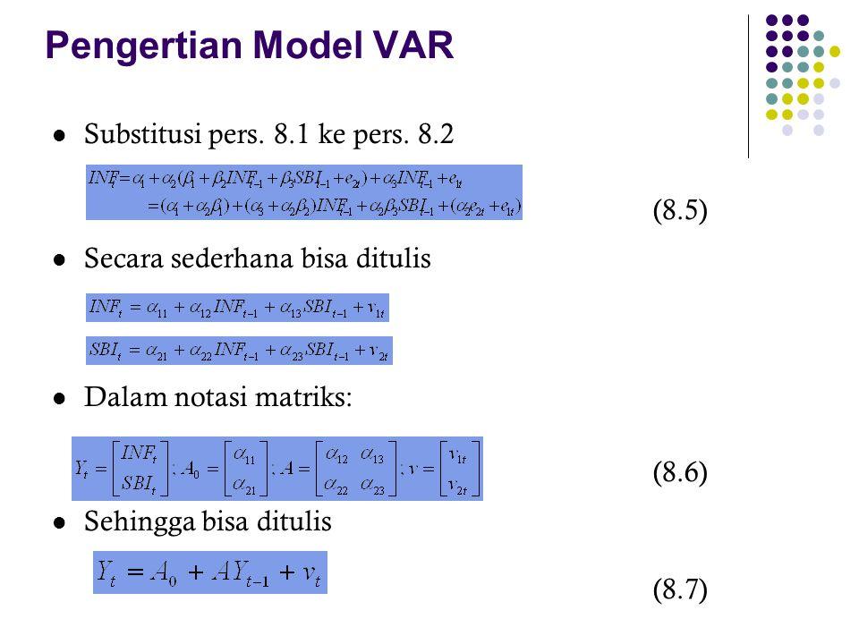 Pengertian Model VAR Substitusi pers. 8.1 ke pers. 8.2 (8.5) Secara sederhana bisa ditulis Dalam notasi matriks: (8.6) Sehingga bisa ditulis (8.7)