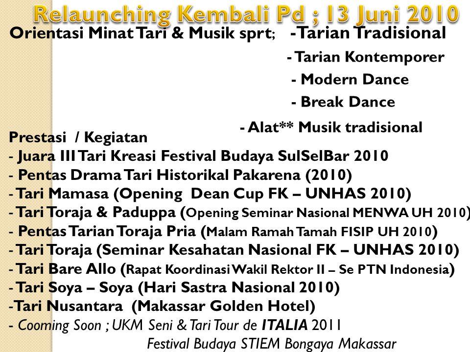 Orientasi Minat Tari & Musik sprt ; -Tarian Tradisional - Tarian Kontemporer - Modern Dance - Break Dance - Alat** Musik tradisional Prestasi / Kegiat