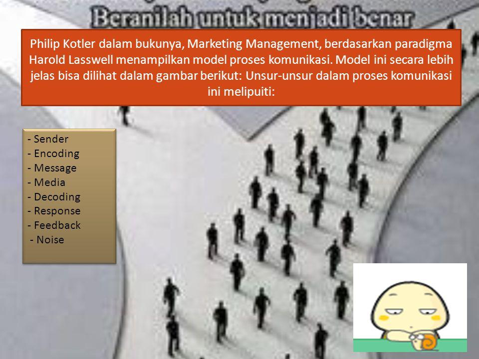 Philip Kotler dalam bukunya, Marketing Management, berdasarkan paradigma Harold Lasswell menampilkan model proses komunikasi. Model ini secara lebih j