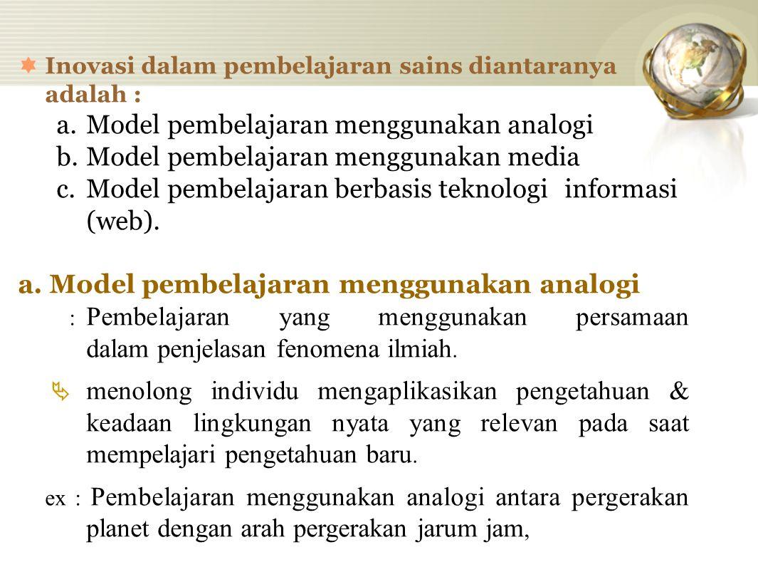  Inovasi dalam pembelajaran sains diantaranya adalah : a. Model pembelajaran menggunakan analogi b. Model pembelajaran menggunakan media c. Model pem