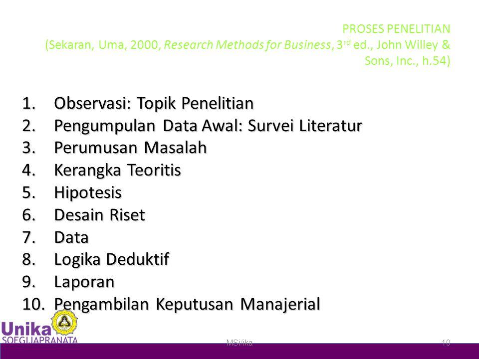 PROSES PENELITIAN (Sekaran, Uma, 2000, Research Methods for Business, 3 rd ed., John Willey & Sons, Inc., h.54) 1.Observasi: Topik Penelitian 2.Pengumpulan Data Awal: Survei Literatur 3.Perumusan Masalah 4.Kerangka Teoritis 5.Hipotesis 6.Desain Riset 7.Data 8.Logika Deduktif 9.Laporan 10.Pengambilan Keputusan Manajerial MSi/ika10