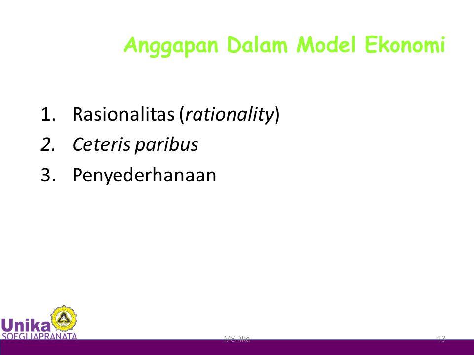 Anggapan Dalam Model Ekonomi 1.Rasionalitas (rationality) 2.Ceteris paribus 3.Penyederhanaan MSi/ika13
