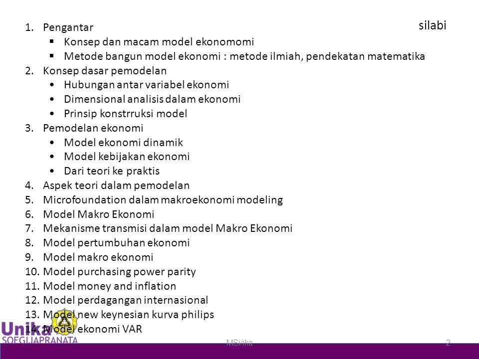 silabi 1.Pengantar  Konsep dan macam model ekonomomi  Metode bangun model ekonomi : metode ilmiah, pendekatan matematika 2.Konsep dasar pemodelan Hubungan antar variabel ekonomi Dimensional analisis dalam ekonomi Prinsip konstrruksi model 3.Pemodelan ekonomi Model ekonomi dinamik Model kebijakan ekonomi Dari teori ke praktis 4.Aspek teori dalam pemodelan 5.Microfoundation dalam makroekonomi modeling 6.Model Makro Ekonomi 7.Mekanisme transmisi dalam model Makro Ekonomi 8.Model pertumbuhan ekonomi 9.Model makro ekonomi 10.Model purchasing power parity 11.Model money and inflation 12.Model perdagangan internasional 13.Model new keynesian kurva philips 14.Model ekonomi VAR MSi/ika2