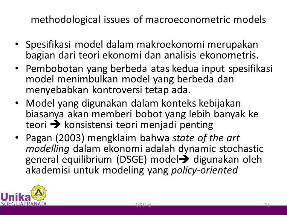 methodological issues of macroeconometric models Spesifikasi model dalam makroekonomi merupakan bagian dari teori ekonomi dan analisis ekonometris. Pe