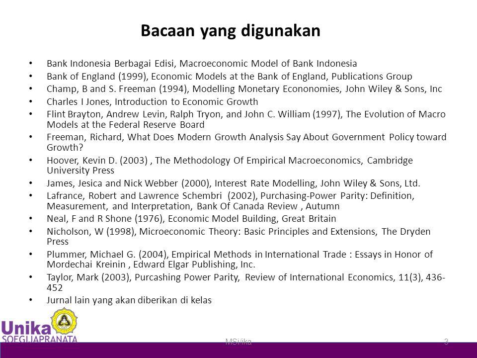 Bacaan yang digunakan Bank Indonesia Berbagai Edisi, Macroeconomic Model of Bank Indonesia Bank of England (1999), Economic Models at the Bank of Engl