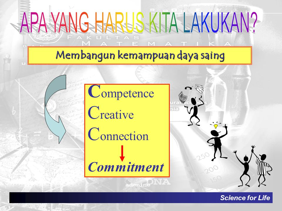 Science for Life Membangun kemampuan daya saing C ompetence C reative C onnection Commitment