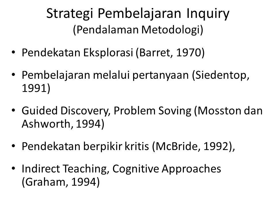 Strategi Pembelajaran Inquiry (Pendalaman Metodologi) Pendekatan Eksplorasi (Barret, 1970) Pembelajaran melalui pertanyaan (Siedentop, 1991) Guided Di