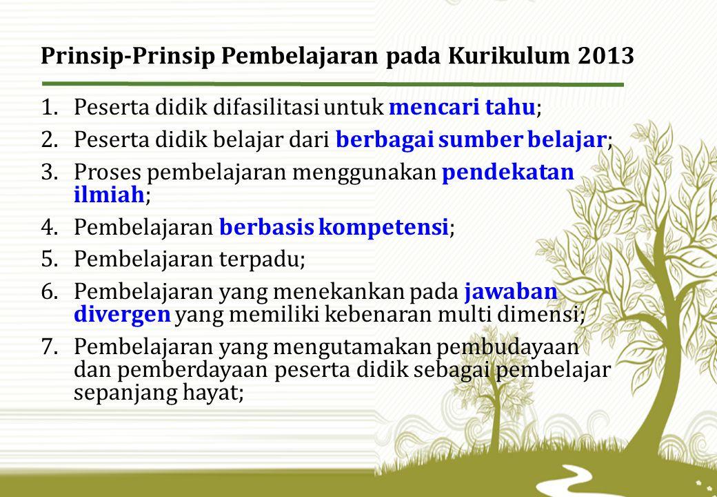 Prinsip-Prinsip Pembelajaran pada Kurikulum 2013 1.Peserta didik difasilitasi untuk mencari tahu; 2.Peserta didik belajar dari berbagai sumber belajar; 3.Proses pembelajaran menggunakan pendekatan ilmiah; 4.Pembelajaran berbasis kompetensi; 5.Pembelajaran terpadu; 6.Pembelajaran yang menekankan pada jawaban divergen yang memiliki kebenaran multi dimensi; 7.Pembelajaran yang mengutamakan pembudayaan dan pemberdayaan peserta didik sebagai pembelajar sepanjang hayat;