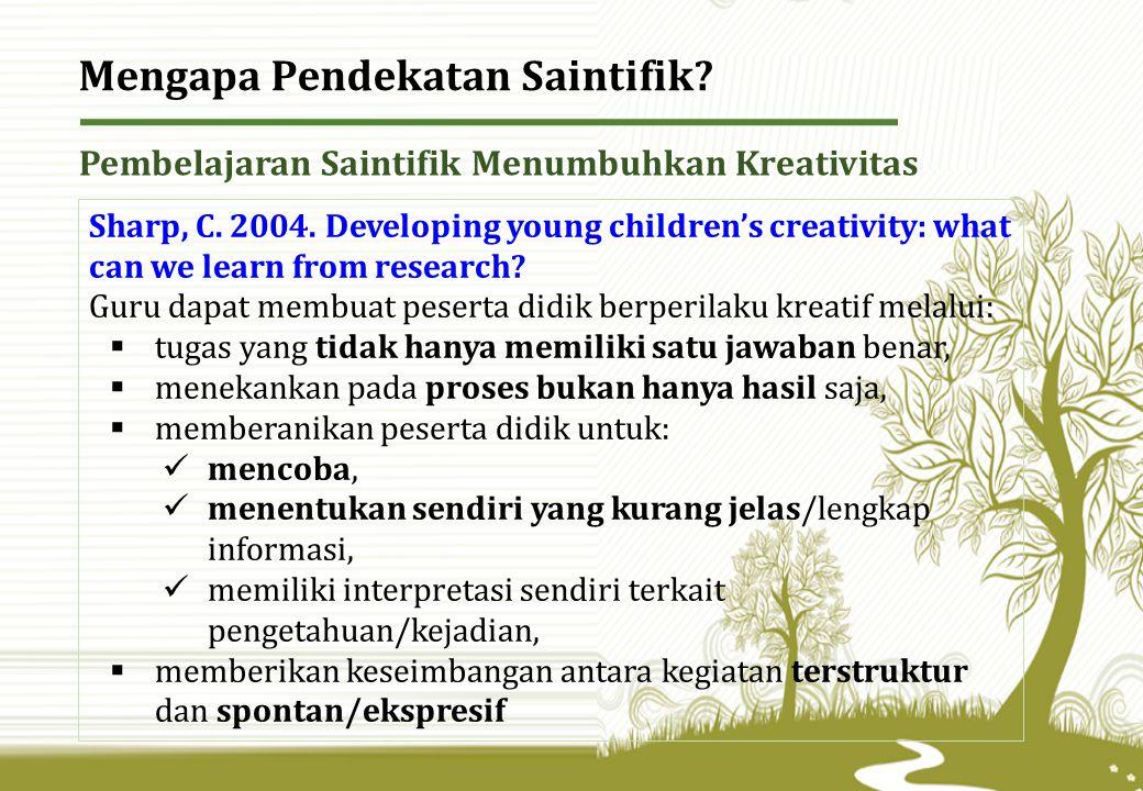 Pembelajaran Saintifik Menumbuhkan Kreativitas Sharp, C.