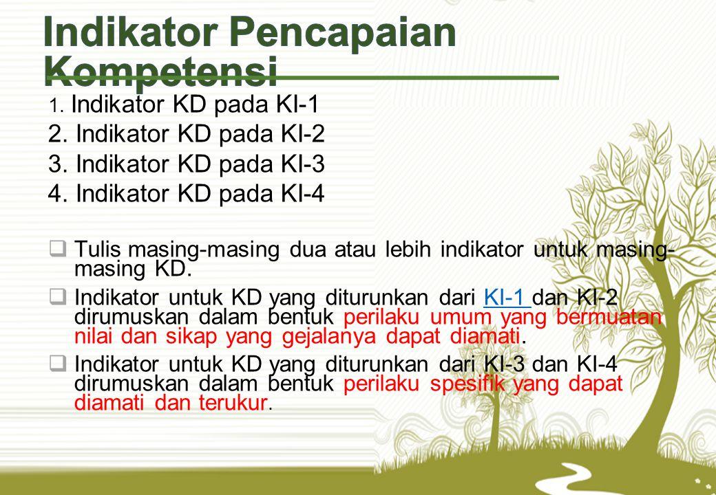 1. Indikator KD pada KI-1 2. Indikator KD pada KI-2 3. Indikator KD pada KI-3 4. Indikator KD pada KI-4  Tulis masing-masing dua atau lebih indikator