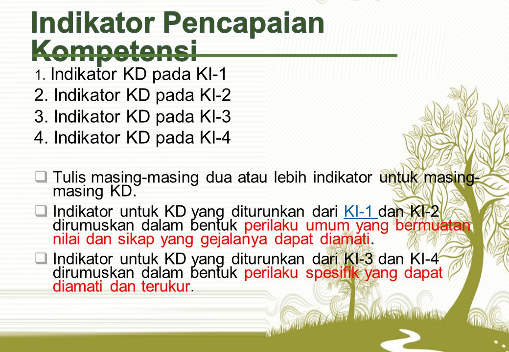 1.Indikator KD pada KI-1 2. Indikator KD pada KI-2 3.