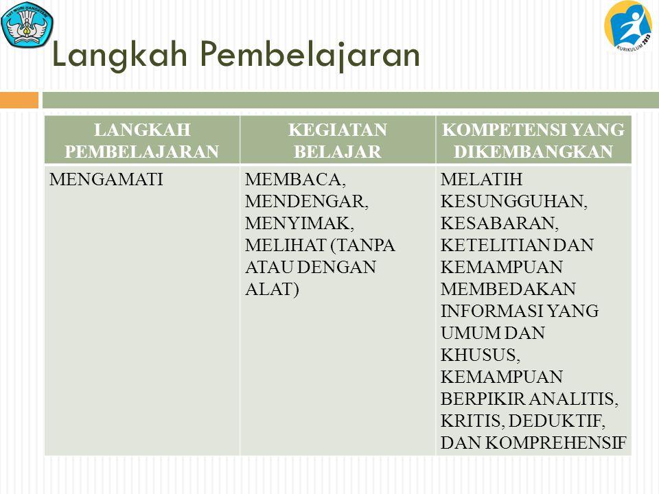 Langkah Pembelajaran LANGKAH PEMBELAJARAN KEGIATAN BELAJAR KOMPETENSI YANG DIKEMBANGKAN MENGAMATIMEMBACA, MENDENGAR, MENYIMAK, MELIHAT (TANPA ATAU DEN