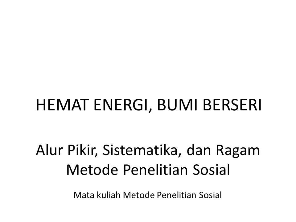 Alur Pikir, Sistematika, dan Ragam Metode Penelitian Sosial Mata kuliah Metode Penelitian Sosial HEMAT ENERGI, BUMI BERSERI