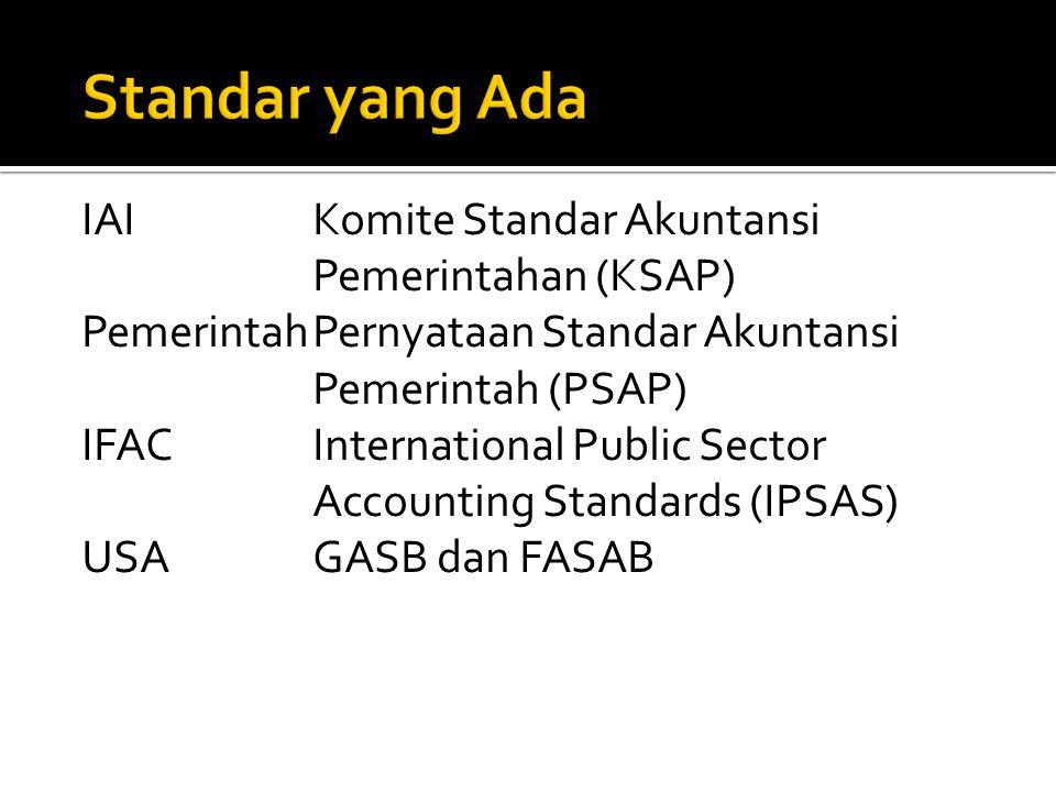 IAIKomite Standar Akuntansi Pemerintahan (KSAP) PemerintahPernyataan Standar Akuntansi Pemerintah (PSAP) IFACInternational Public Sector Accounting Standards (IPSAS) USAGASB dan FASAB