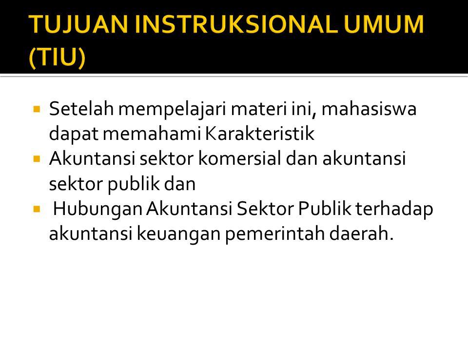  Setelah mempelajari materi ini, mahasiswa dapat memahami Karakteristik  Akuntansi sektor komersial dan akuntansi sektor publik dan  Hubungan Akuntansi Sektor Publik terhadap akuntansi keuangan pemerintah daerah.