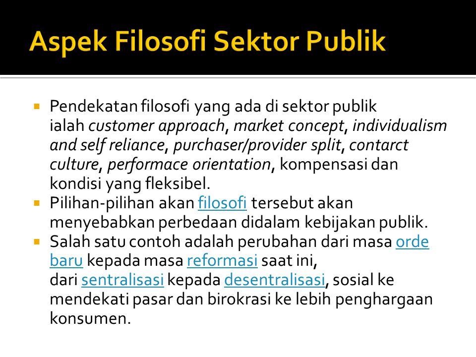  Pendekatan filosofi yang ada di sektor publik ialah customer approach, market concept, individualism and self reliance, purchaser/provider split, contarct culture, performace orientation, kompensasi dan kondisi yang fleksibel.