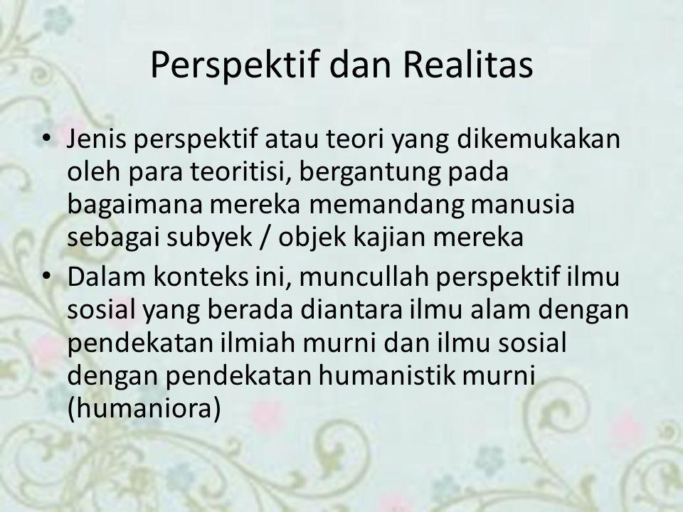 Perspektif dan Realitas Jenis perspektif atau teori yang dikemukakan oleh para teoritisi, bergantung pada bagaimana mereka memandang manusia sebagai s
