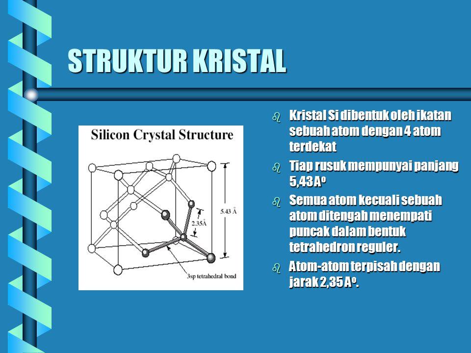 STRUKTUR KRISTAL b Kristal Si dibentuk oleh ikatan sebuah atom dengan 4 atom terdekat b Tiap rusuk mempunyai panjang 5,43 A o b Semua atom kecuali seb