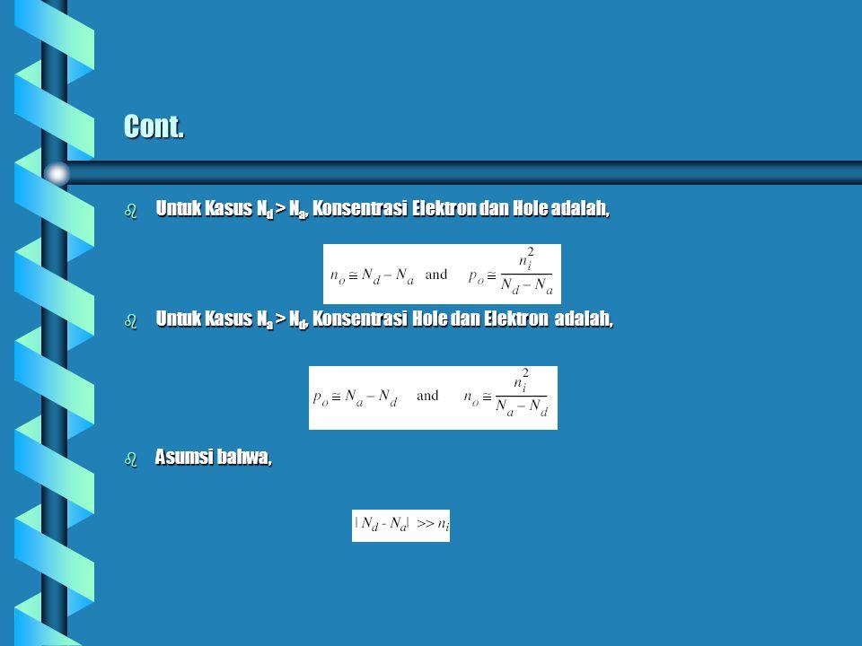 Cont. b Untuk Kasus N d > N a, Konsentrasi Elektron dan Hole adalah, b Untuk Kasus N a > N d, Konsentrasi Hole dan Elektron adalah, b Asumsi bahwa,