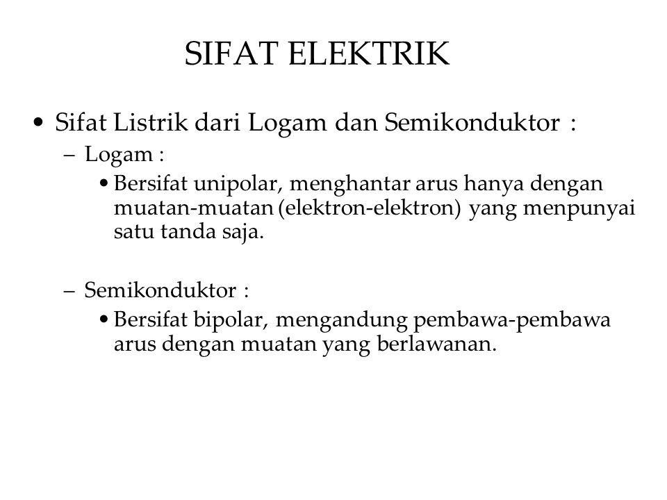 Sifat Listrik dari Logam dan Semikonduktor : –Logam : Bersifat unipolar, menghantar arus hanya dengan muatan-muatan (elektron-elektron) yang menpunyai