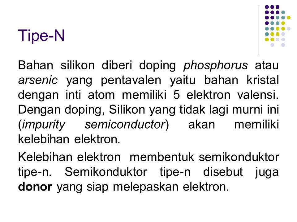 Tipe-N Bahan silikon diberi doping phosphorus atau arsenic yang pentavalen yaitu bahan kristal dengan inti atom memiliki 5 elektron valensi. Dengan do