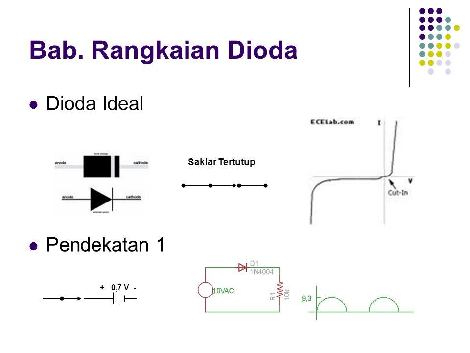 Bab. Rangkaian Dioda Dioda Ideal Pendekatan 1 Saklar Tertutup + 0,7 V -
