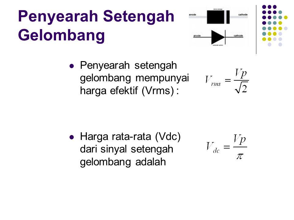 Penyearah Setengah Gelombang Penyearah setengah gelombang mempunyai harga efektif (Vrms) : Harga rata-rata (Vdc) dari sinyal setengah gelombang adalah