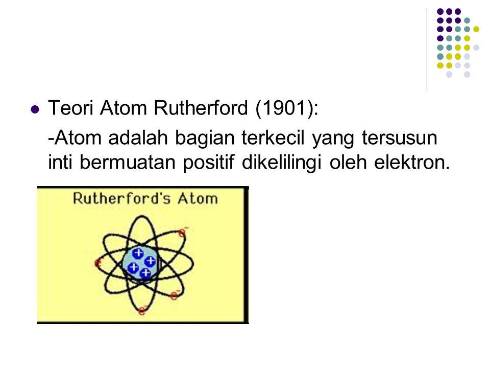 Teori Atom Rutherford (1901): -Atom adalah bagian terkecil yang tersusun inti bermuatan positif dikelilingi oleh elektron.