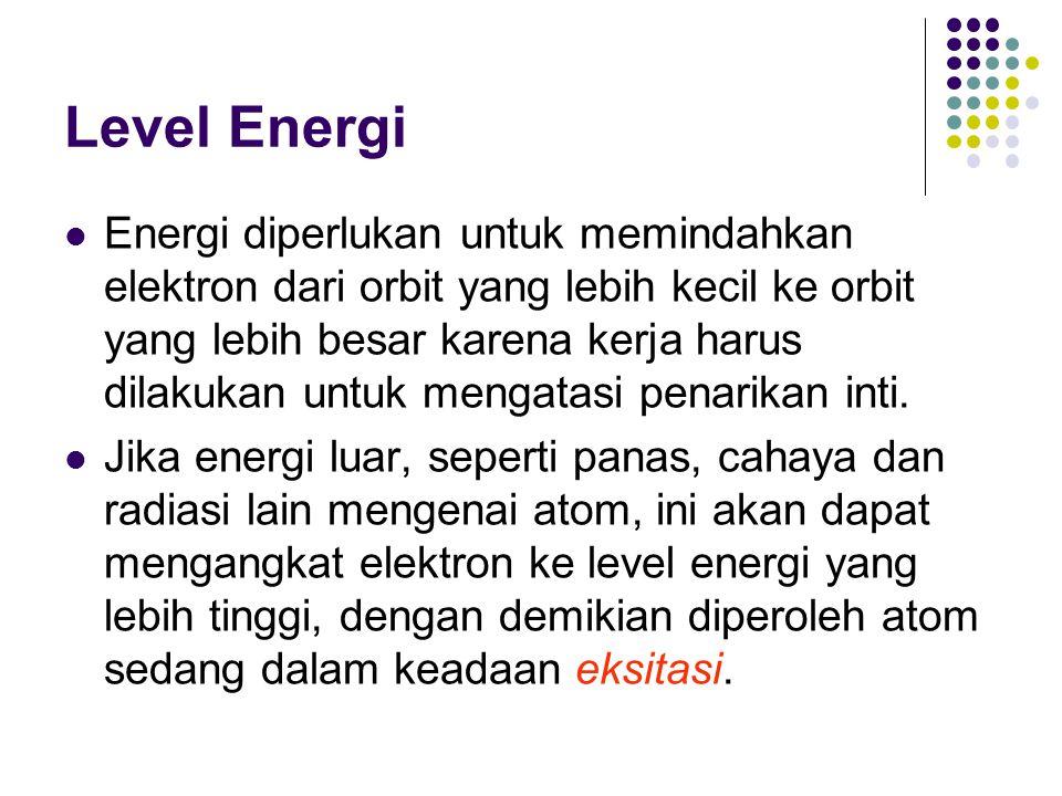 Level Energi Energi diperlukan untuk memindahkan elektron dari orbit yang lebih kecil ke orbit yang lebih besar karena kerja harus dilakukan untuk men