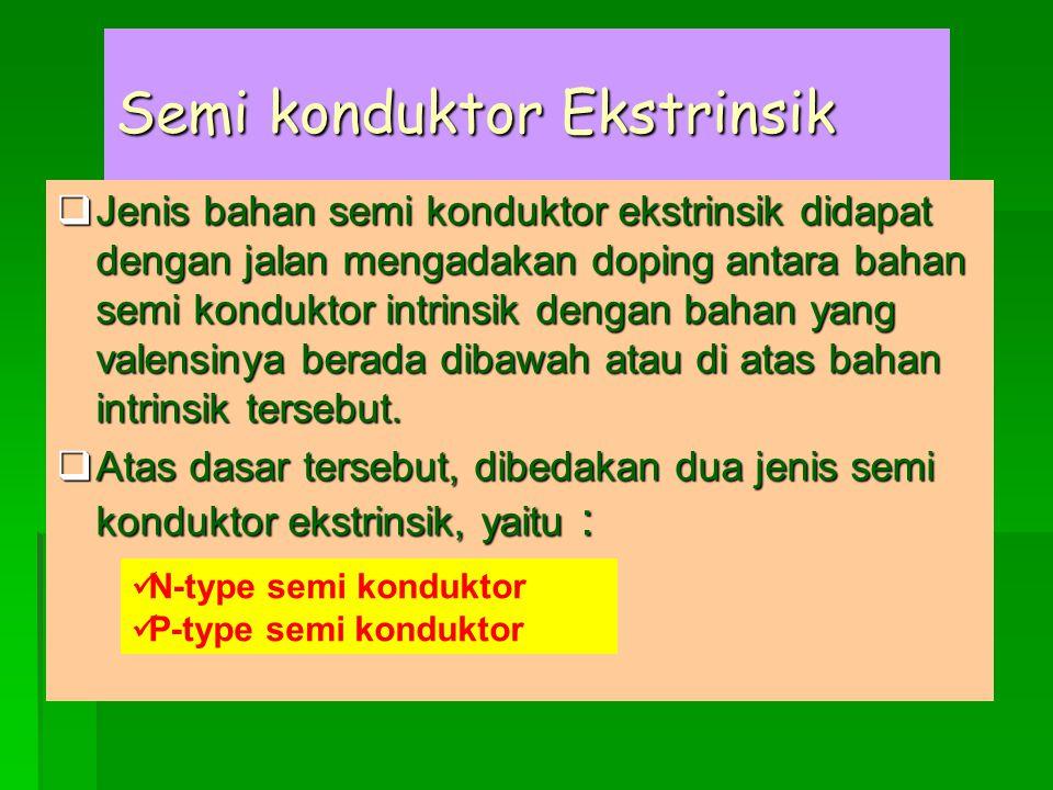 Semi konduktor Ekstrinsik  Jenis bahan semi konduktor ekstrinsik didapat dengan jalan mengadakan doping antara bahan semi konduktor intrinsik dengan