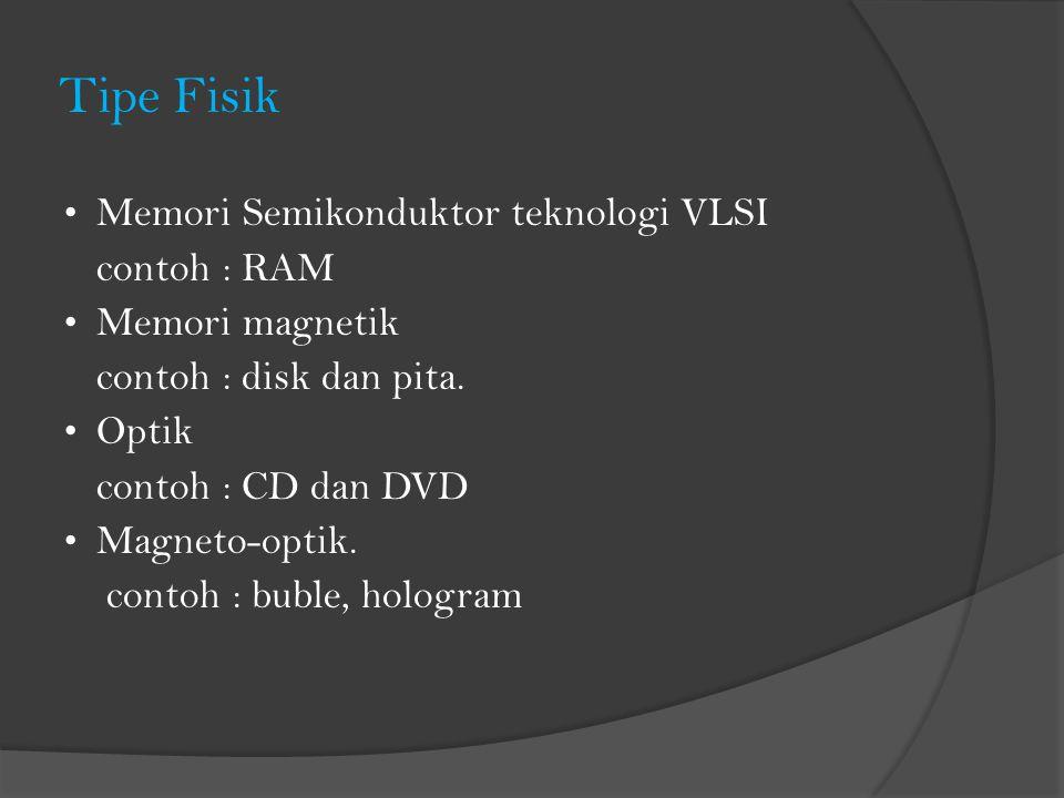 Tipe Fisik Memori Semikonduktor teknologi VLSI contoh : RAM Memori magnetik contoh : disk dan pita. Optik contoh : CD dan DVD Magneto-optik. contoh :