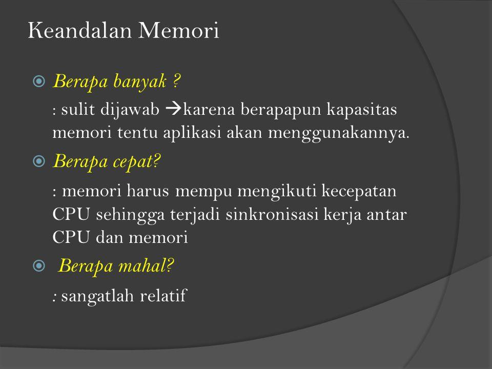 Keandalan Memori  Berapa banyak ? : sulit dijawab  karena berapapun kapasitas memori tentu aplikasi akan menggunakannya.  Berapa cepat? : memori ha