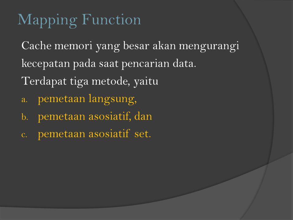 Mapping Function Cache memori yang besar akan mengurangi kecepatan pada saat pencarian data. Terdapat tiga metode, yaitu a. pemetaan langsung, b. peme