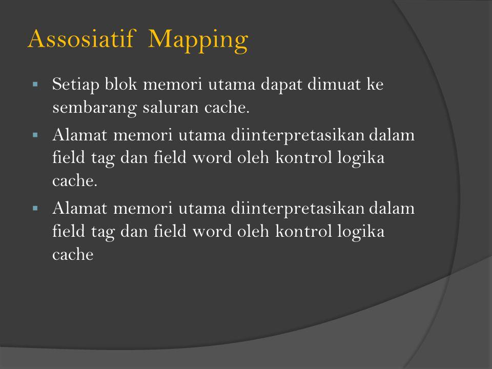 Assosiatif Mapping  Setiap blok memori utama dapat dimuat ke sembarang saluran cache.  Alamat memori utama diinterpretasikan dalam field tag dan fie